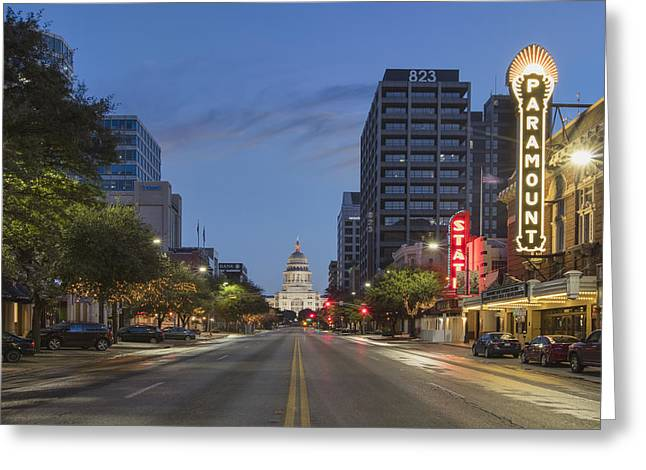 Texas Capitol And The Paramount From Congress Greeting Card