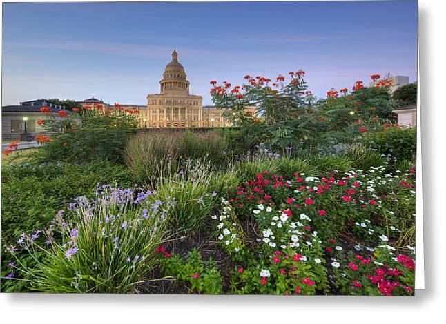Texas Capitol Austin Fall Flowers 3 Greeting Card