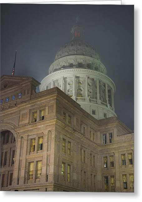 Texas Capitol In Fog Greeting Card