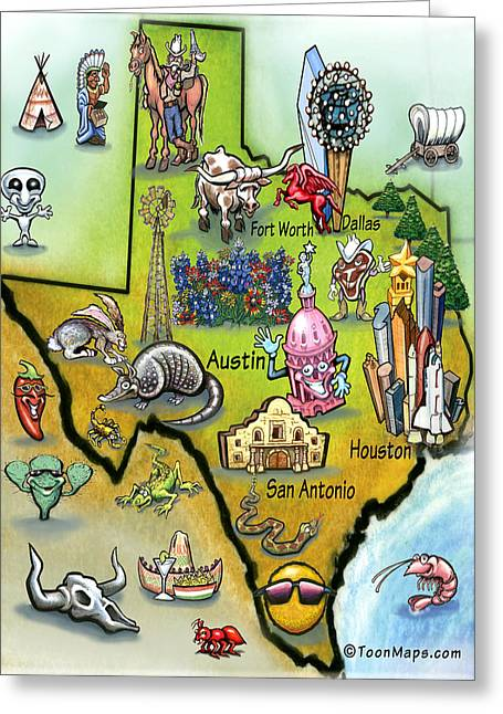 Greeting Card featuring the digital art Texas Cartoon Map by Kevin Middleton