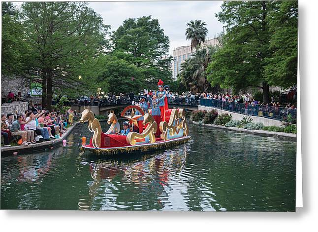 Texas Cavaliers River Parade On The San Antonio River Greeting Card by Carol M Highsmith