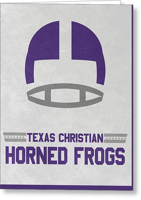 Texas Christian Horned Frogs Vintage Football Art Greeting Card