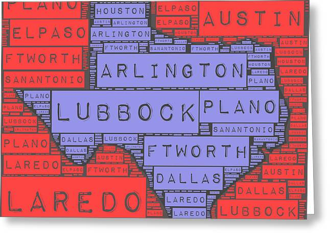 Texas Cities V3 Greeting Card