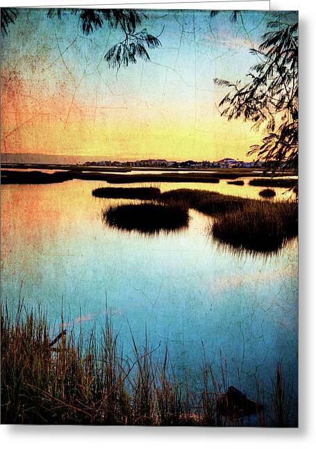 Texas City Wetlands Sunset Greeting Card