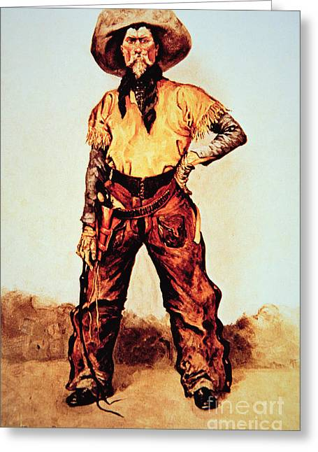 Moustache Greeting Cards - Texas Cowboy Greeting Card by Frederic Remington