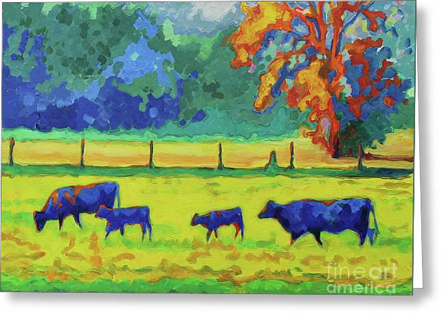 Texas Cows And Calves At Sunset Painting T Bertram Poole Greeting Card