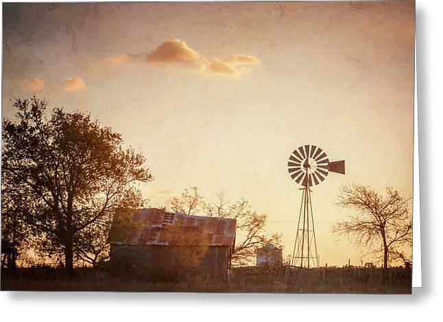 Texas Farm Dawn Greeting Card by Joan Carroll