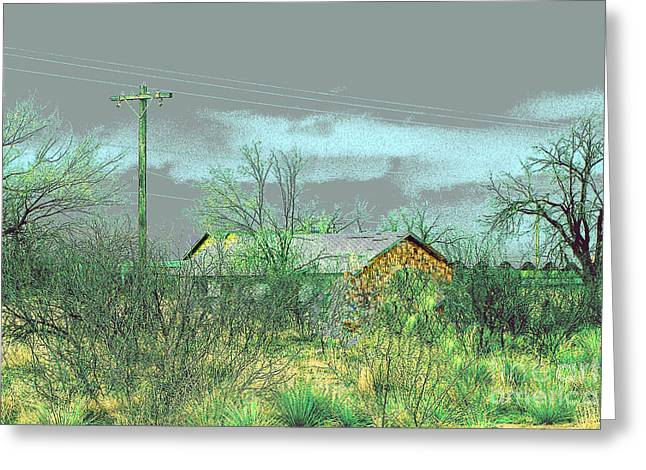 Greeting Card featuring the photograph Texas Farm House - Digital Painting by Merton Allen