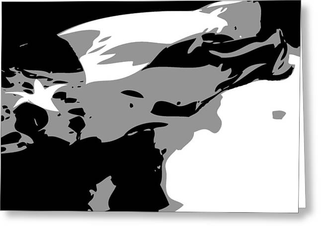 Texas Flag In The Wind Bw3 Greeting Card by Scott Kelley