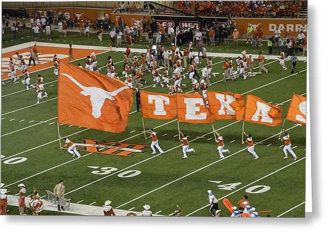 Texas Flags On Football Field Greeting Card