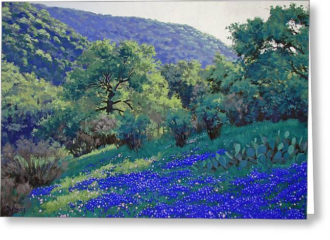 Texas Hill Country Blues Greeting Card by Russell Cushman