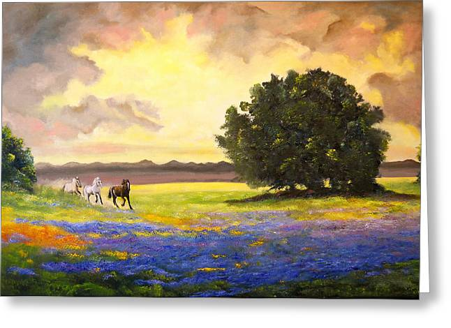 Texas Horses And Bluebonnets Greeting Card by Connie Tom