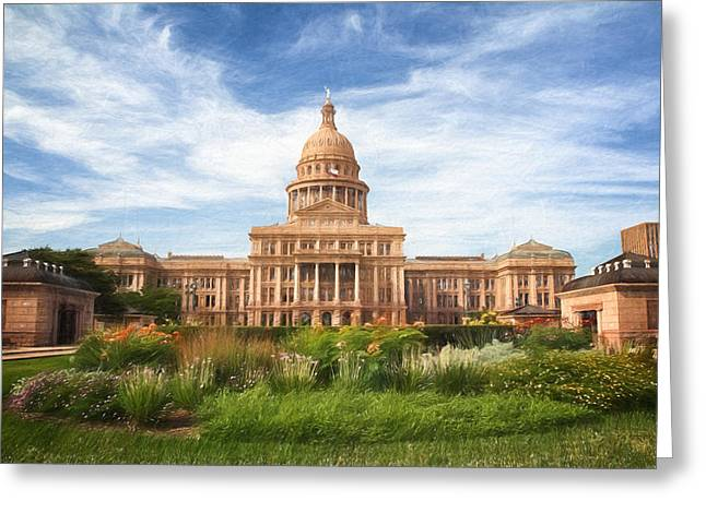Texas Impressions Texas State Capitol Greeting Card by Joan Carroll