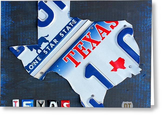 Metal Art Greeting Cards - Texas License Plate Map Greeting Card by Design Turnpike