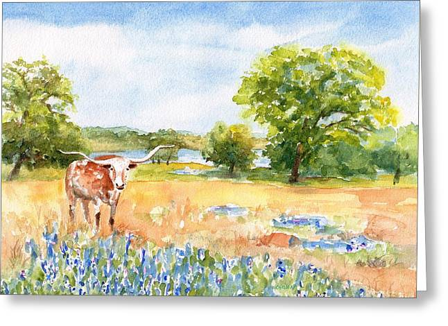 Greeting Card featuring the painting Texas Longhorn And Bluebonnets by Carlin Blahnik CarlinArtWatercolor