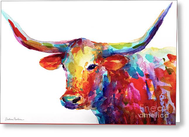 Texas Longhorn Art Greeting Card by Svetlana Novikova