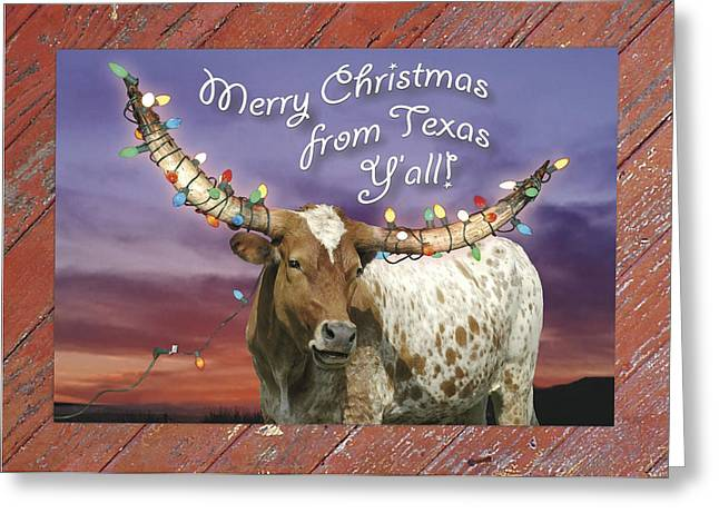 Texas Longhorn Christmas Card Greeting Card by Robert Anschutz