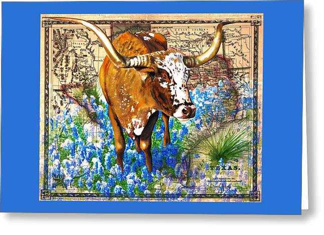 Texas Longhorn In Bluebonnets Greeting Card