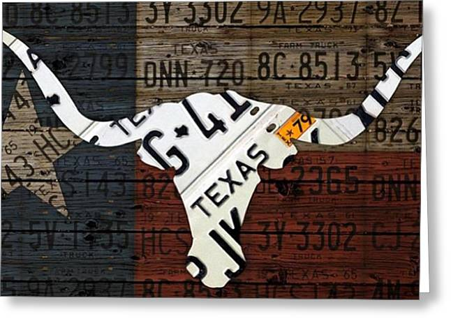 #texas #longhorn #recycled #vintage Greeting Card