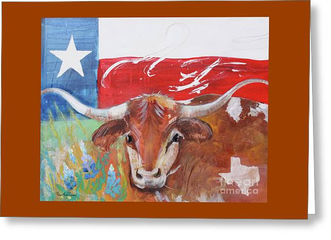 Greeting Card featuring the painting Texas Longhorn by Robin Maria Pedrero