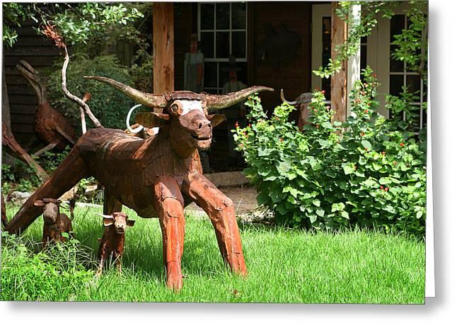 Texas Longhorn Sculpture Greeting Card by Linda Phelps