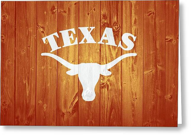 Texas Longhorns Barn Door Greeting Card by Dan Sproul