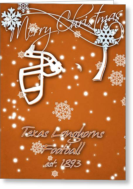 Texas Longhorns Christmas Card Greeting Card by Joe Hamilton