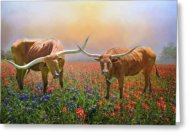 Texas Longhorns In Spring Wildflowers Greeting Card by Lynn Bauer