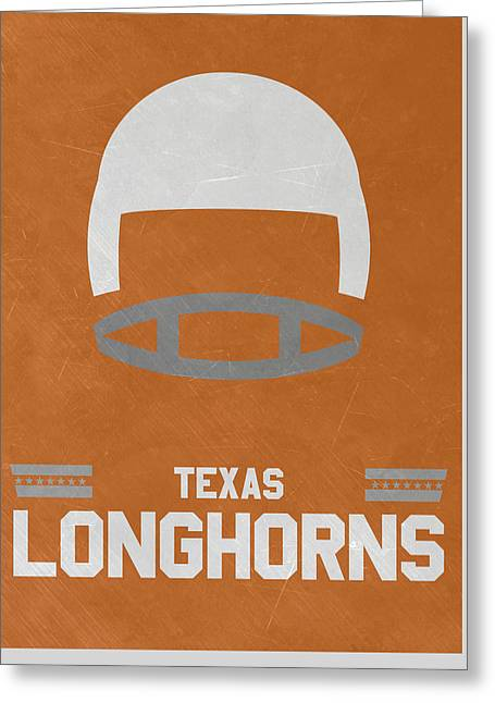 Texas Longhorns Vintage Football Art Greeting Card by Joe Hamilton