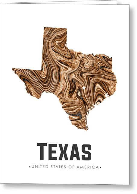 Texas Map Art Abstract In Brown Greeting Card