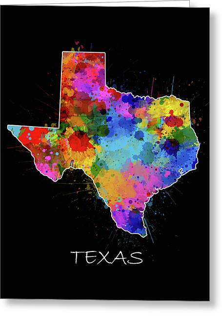 Texas Map Color Splatter 2 Greeting Card