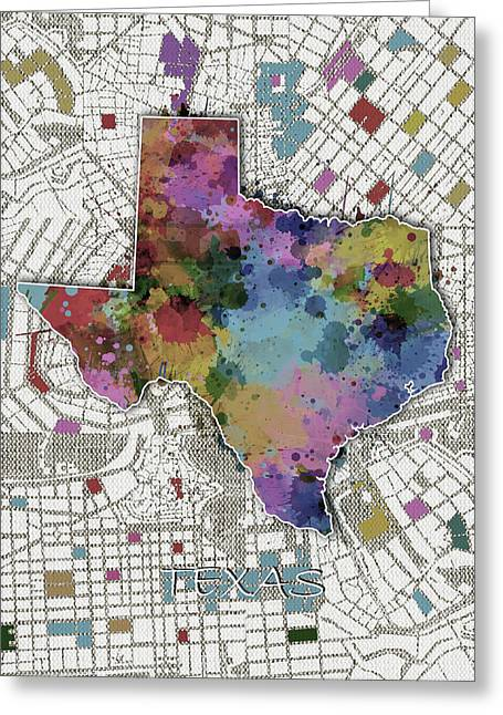 Texas Map Color Splatter 6 Greeting Card