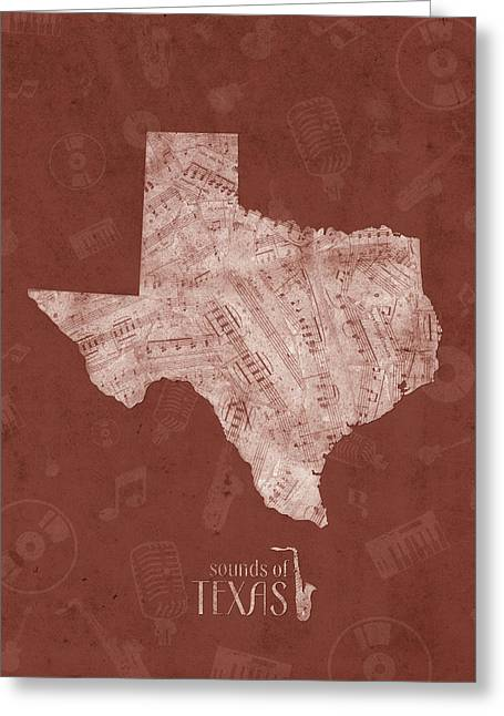 Texas Map Music Notes 4 Greeting Card