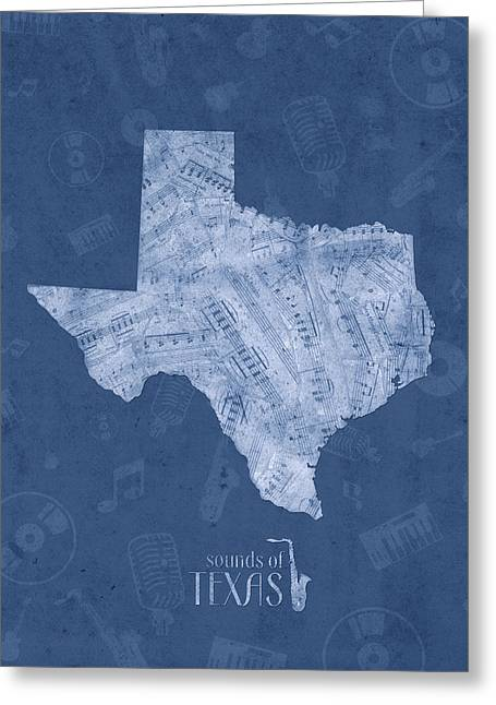 Texas Map Music Notes 5 Greeting Card