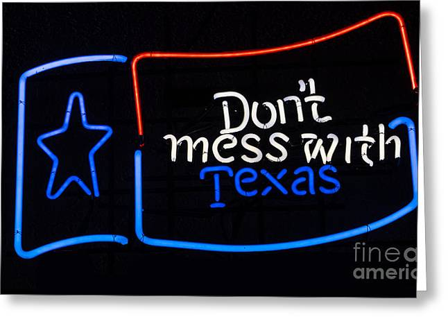 Texas Neon Sign Greeting Card by Mindy Sommers