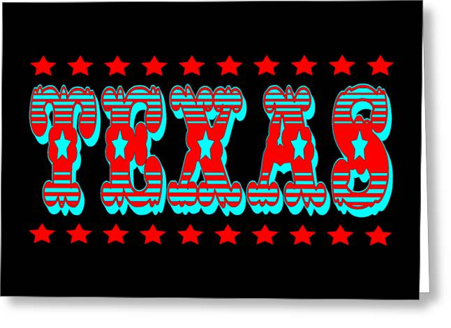 Texas Tshirt Design Greeting Card by Art America Gallery Peter Potter