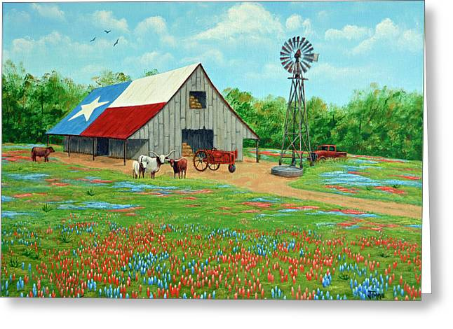 Texas Ranch Barn Greeting Card by Jimmie Bartlett
