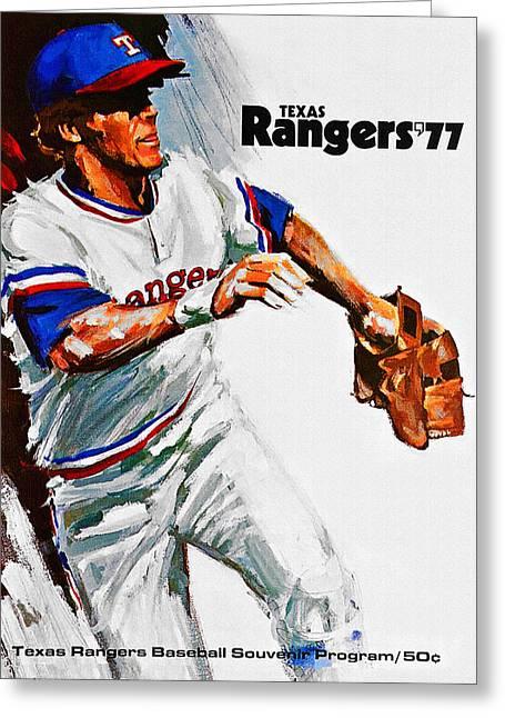 Texas Rangers 1977 Program Greeting Card by Big 88 Artworks