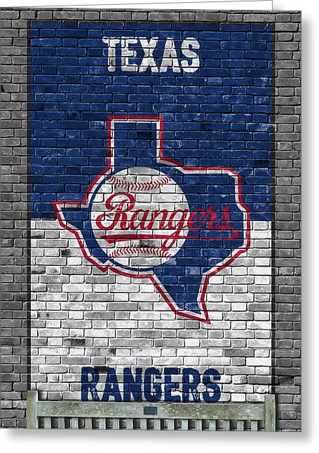 Texas Rangers Brick Wall Greeting Card by Joe Hamilton