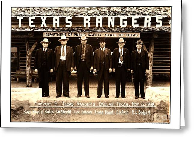 Greeting Card featuring the photograph Texas Rangers Company B At Their Dallas Headquarters 1938 by Peter Gumaer Ogden