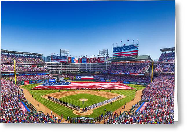 Texas Rangers Opening Day 2016 Greeting Card by Stephen Stookey