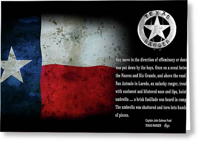 Texas Rangers Quote On Effeminacy And Dandyism  1890 Greeting Card