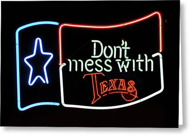 Greeting Card featuring the photograph Texas Flag Saloon Neon by Daniel Hagerman
