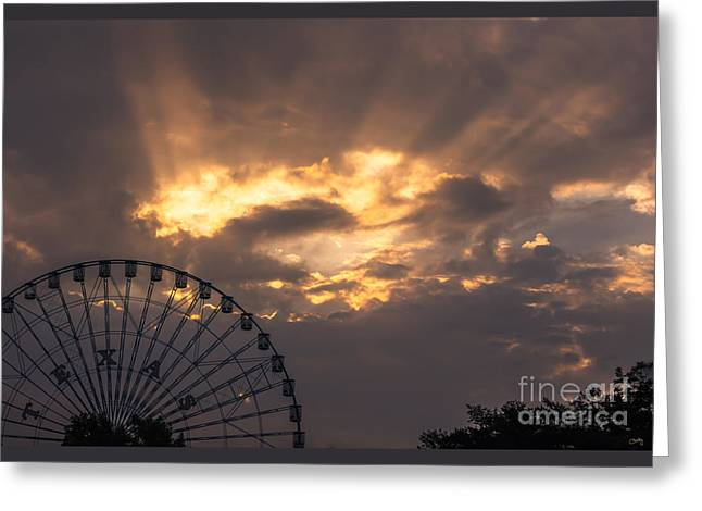 Texas Star Ferris Wheel And Sun Rays Greeting Card