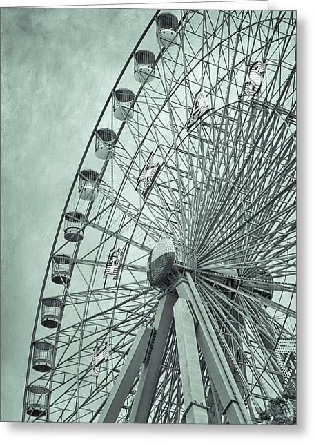 Texas Star Green Greeting Card by Joan Carroll