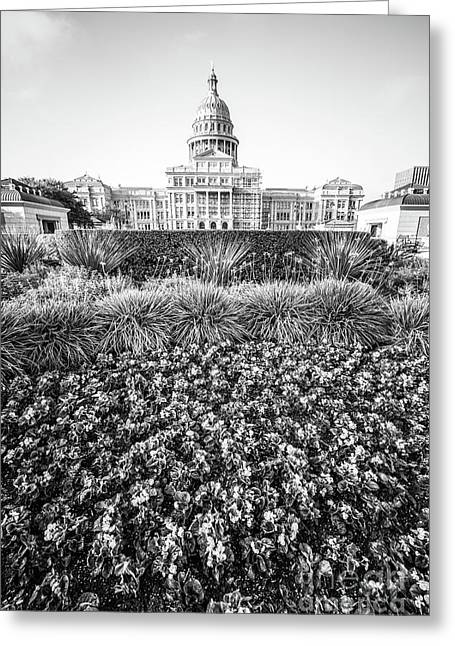 Texas State Capitol Black And White Photo Greeting Card