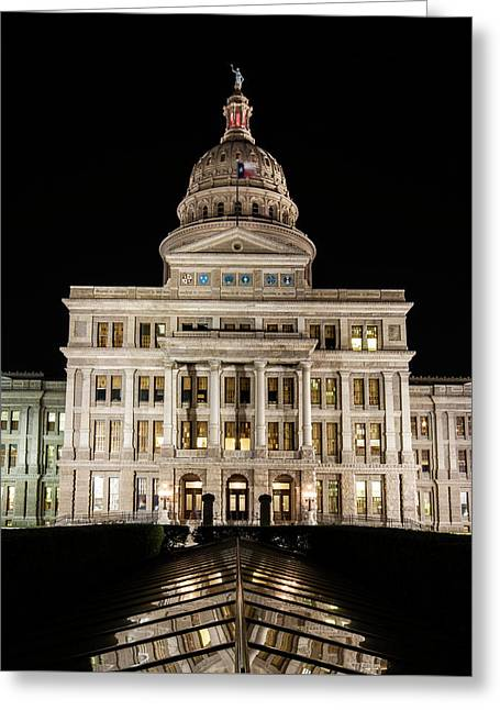 Texas State Capitol Night Reflection Greeting Card by Stephen Stookey