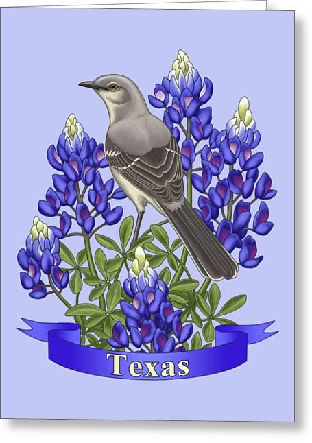 Texas State Mockingbird And Bluebonnet Flower Greeting Card
