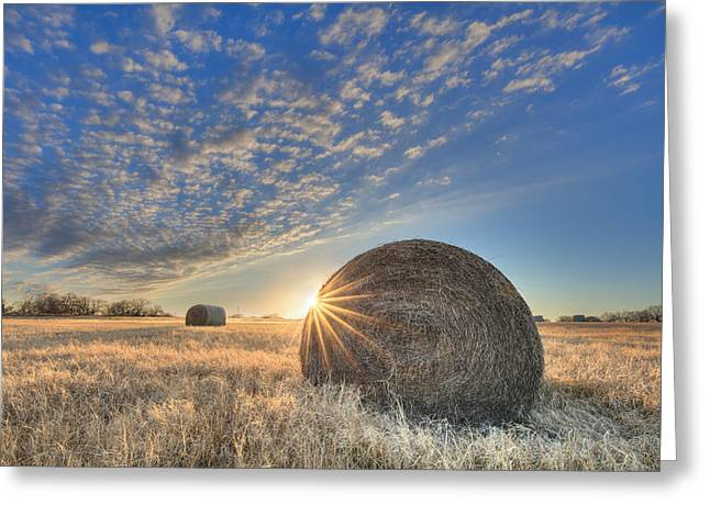 Texas Sunset Over Bales Of Hay 1 Greeting Card by Rob Greebon