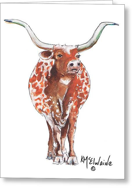 Texas Longhorn Taking The Lead Watercolor Painting By Kmcelwaine Greeting Card by Kathleen McElwaine